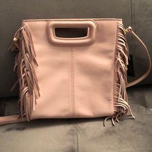 NWT Maje Light Pink Fringe Leather Crossbody